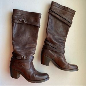 Frye Brown Leather Rounded Buckle Strap Tall Boots